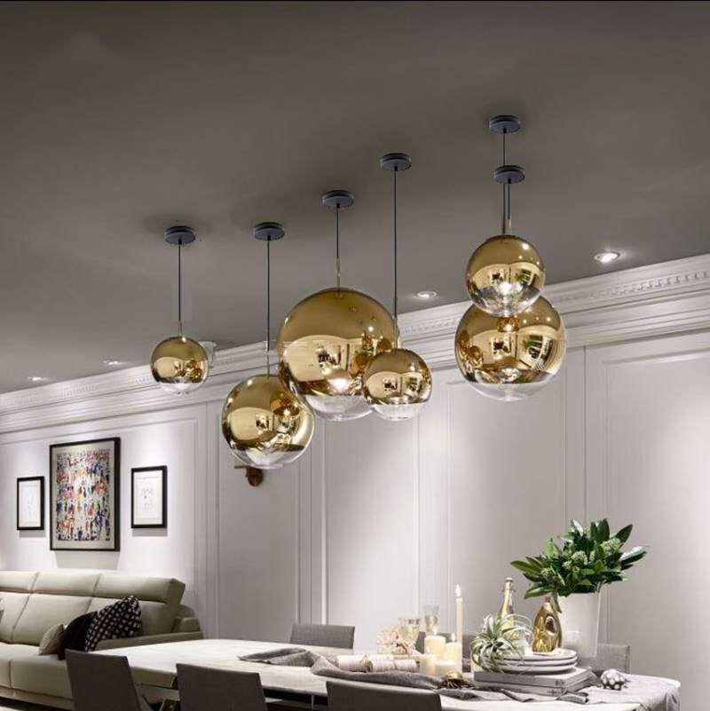 cheapest Nordic Glass Mirror Ball Chandelier Lighting Gold Silver Glass Ball Lamps Kitchen Living Room Bedroom lustre Glass Chandeliers