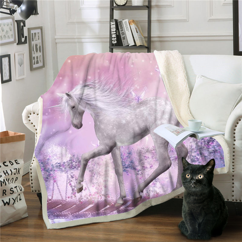 new anime camouflage unicorn Thick  Blanket Soft Coral Fleece Home Bed Blanket For Sofa Bed Fantasy Winter Warm Throw Blankets|Blankets| |  - title=
