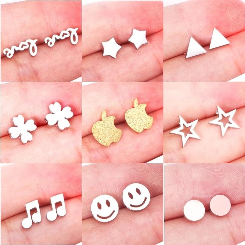 ASONSTEEL Girl Earrings Star/Love Letter/Smile/Snowflake/Owl/Flower/Round Stainless Steel