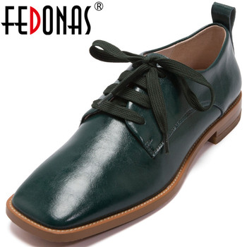 FEDONAS New Women Square Heels Pumps Cross Tied Working Party Pumps Spring Summer  Classic Shoes Genuine Leather Shoes Woman