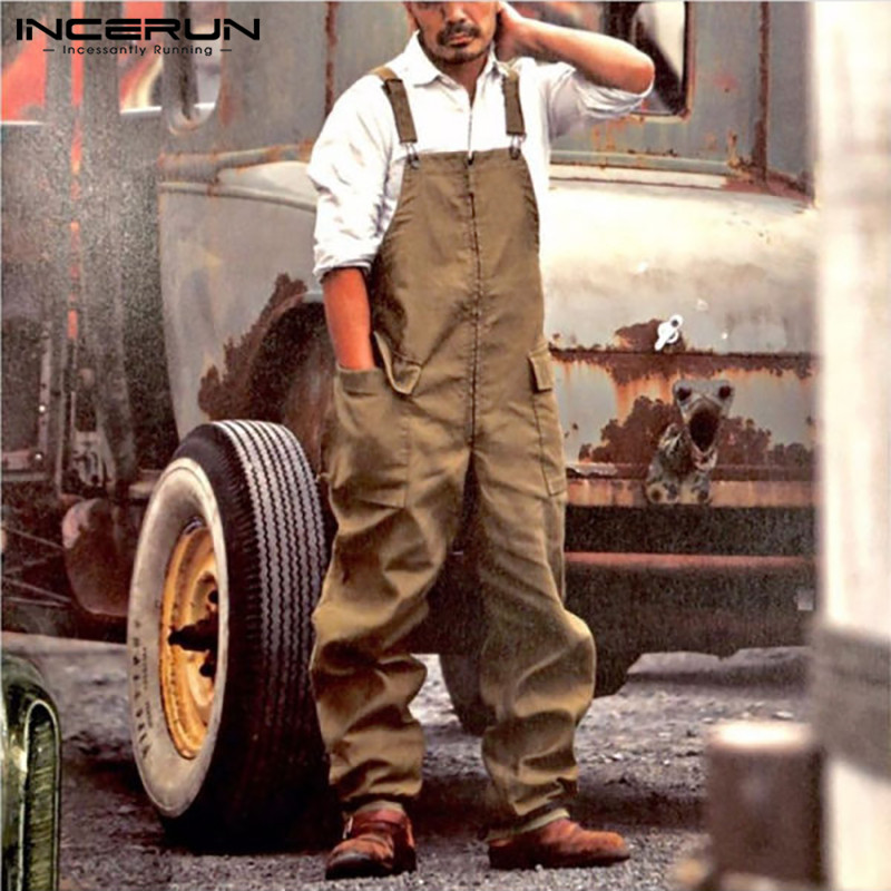 Mode Männer Cargo Overalls Lose Streetwear Taschen Einfarbig Chic Hosenträger Strampler Baumwolle Männer Bib Hosen Overalls INCERUN 7