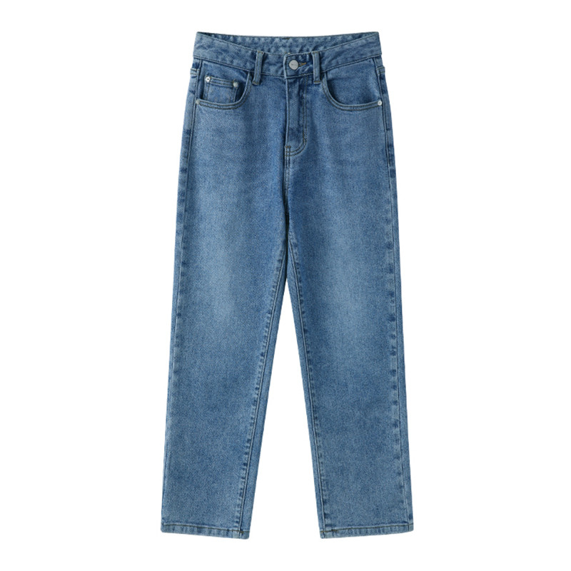 Women Jeans High Waisted Denim Pants 2019  Casual Solid Ankle Length Straight Pants Harajuku Simple Streetwear Trousers