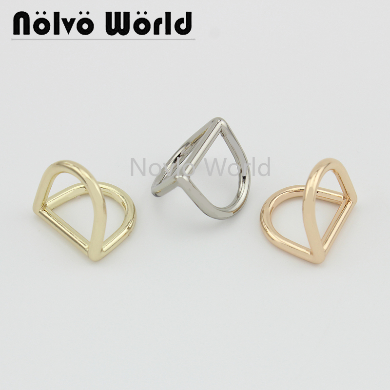 Nolvo World 5-20-100pcs 3 Colors Inner 16.8*14mm Metal Double-sided D Buckles,women Handbag Die Cast D Buckle Accessories