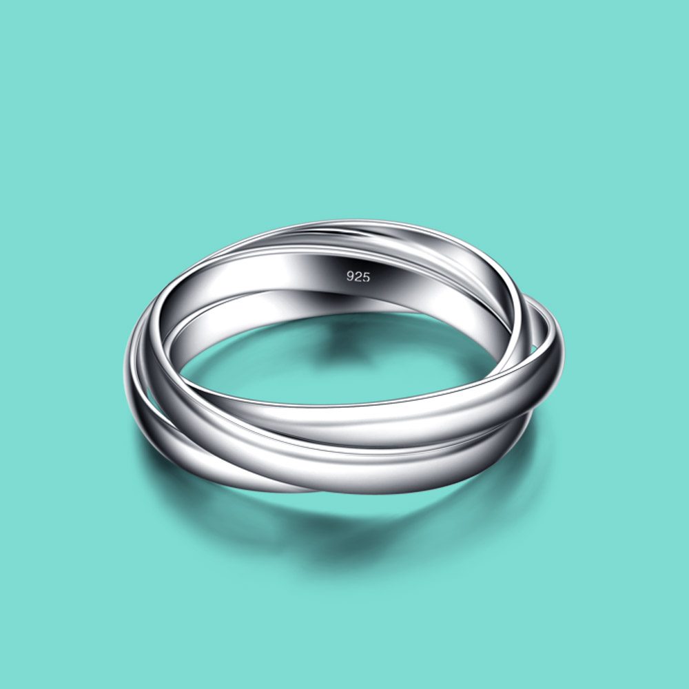 New Arrival Women's Silver Jewelry 100% 925 Silver Ring Minimalist Glossy 3 Loop Ring Original Silver Wedding Ring carving word
