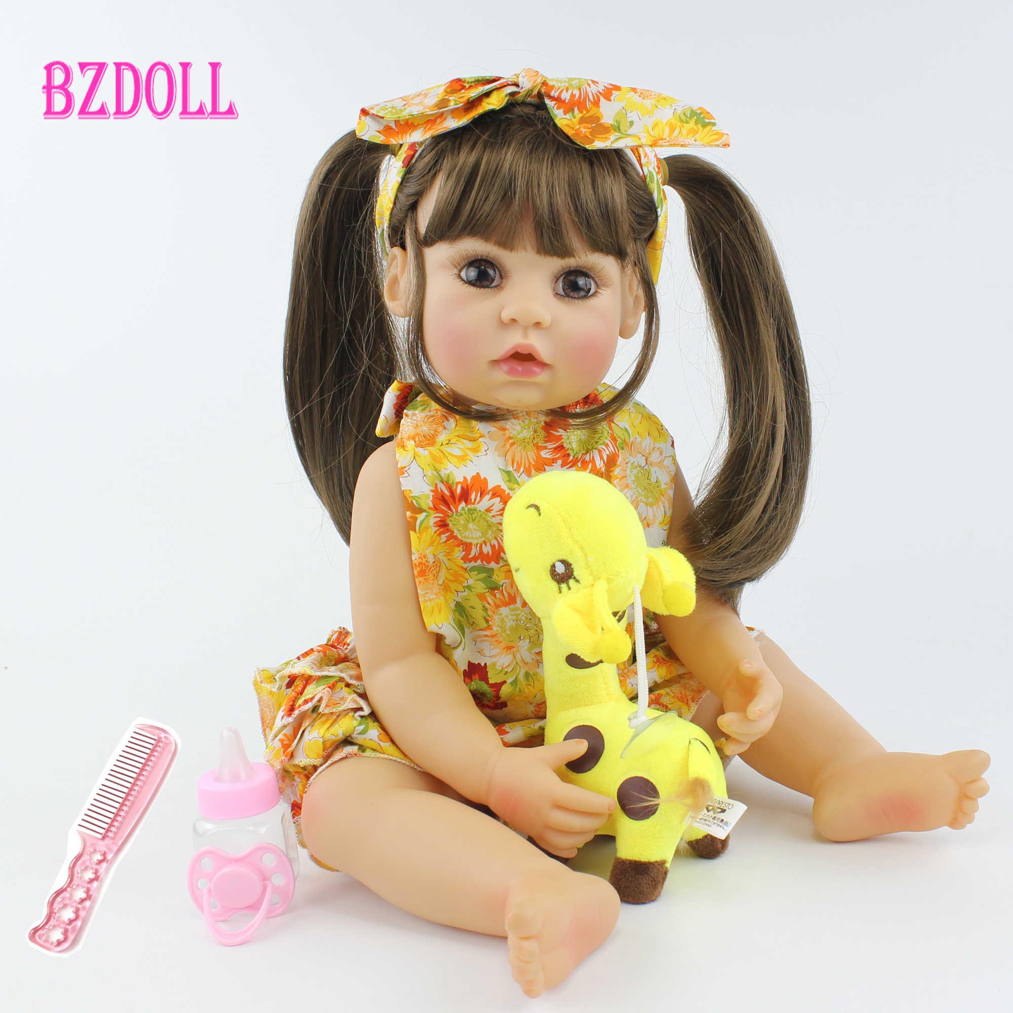 55cm מלא גוף סיליקון Reborn תינוק בובת צעצוע מציאותי 22 אינץ ויניל בחיים תינוקות להתלבש נסיכת פעוט ילדה יום הולדת מתנה