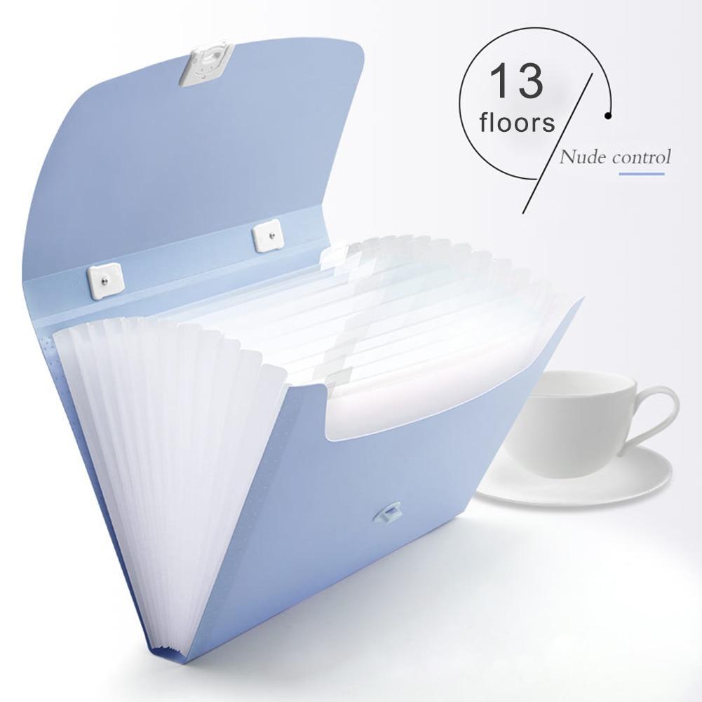 13 Grids A4 Paper Folder Handheld File Folder Organ Box Bag Multi-function Organizer Storage Holder Office Document