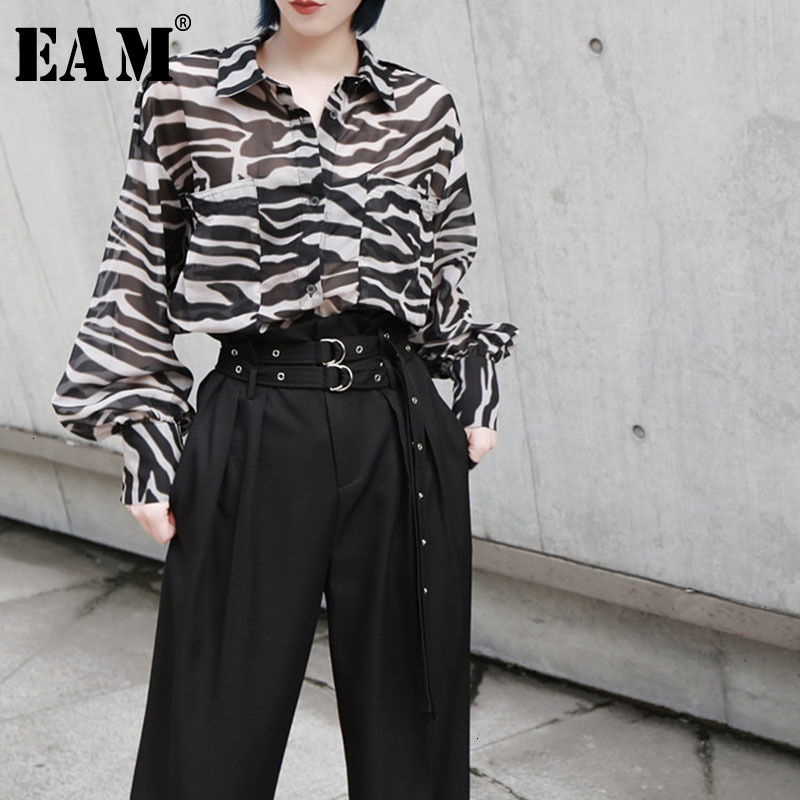 [EAM] Women Print Mixed Color Big Size Blouse New Lapel Long Sleeve Loose Fit Shirt Fashion Tide Spring Autumn 2019 1D339