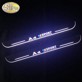 SNCN Waterproof Acrylic Moving LED Welcome Pedal Car Scuff Plate Pedal Door Sill Pathway Light For Audi A4 B9 B8 2008 - 2019 for opel ampera vauxhall acrylic moving led welcome pedal scuff plate pedal door sill pathway light