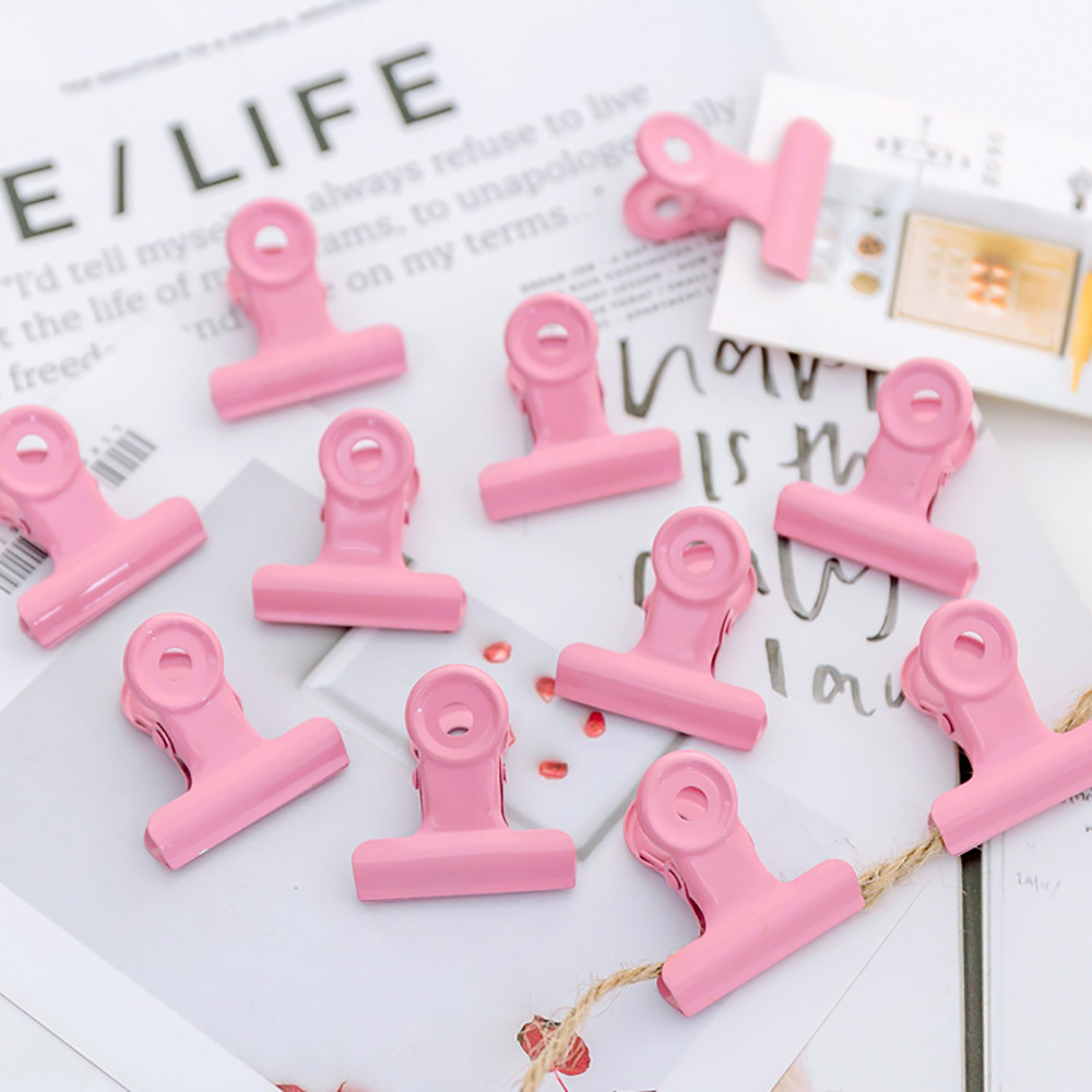 3PCS/PACK Metal Binder Clips Pink Folder Notes Photo Letter Paper Clip Clamp School Office Supply