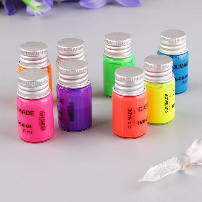 10Pcs/Set Invisible Fluorescence Bottled Dip Signature Pen Ink With Glass Fountain Dip Writing Pen Art Supplies Gifts X6HB|Fountain Pens| |  - title=