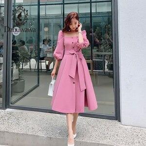 Image 4 - Dabuwawa Mulheres Do Vintage e Elegante Vestido No Início do Outono Puff Luva Praça Neck Ruffles Rosa Vestidos Casuais Vestido Longo DN1CDR053