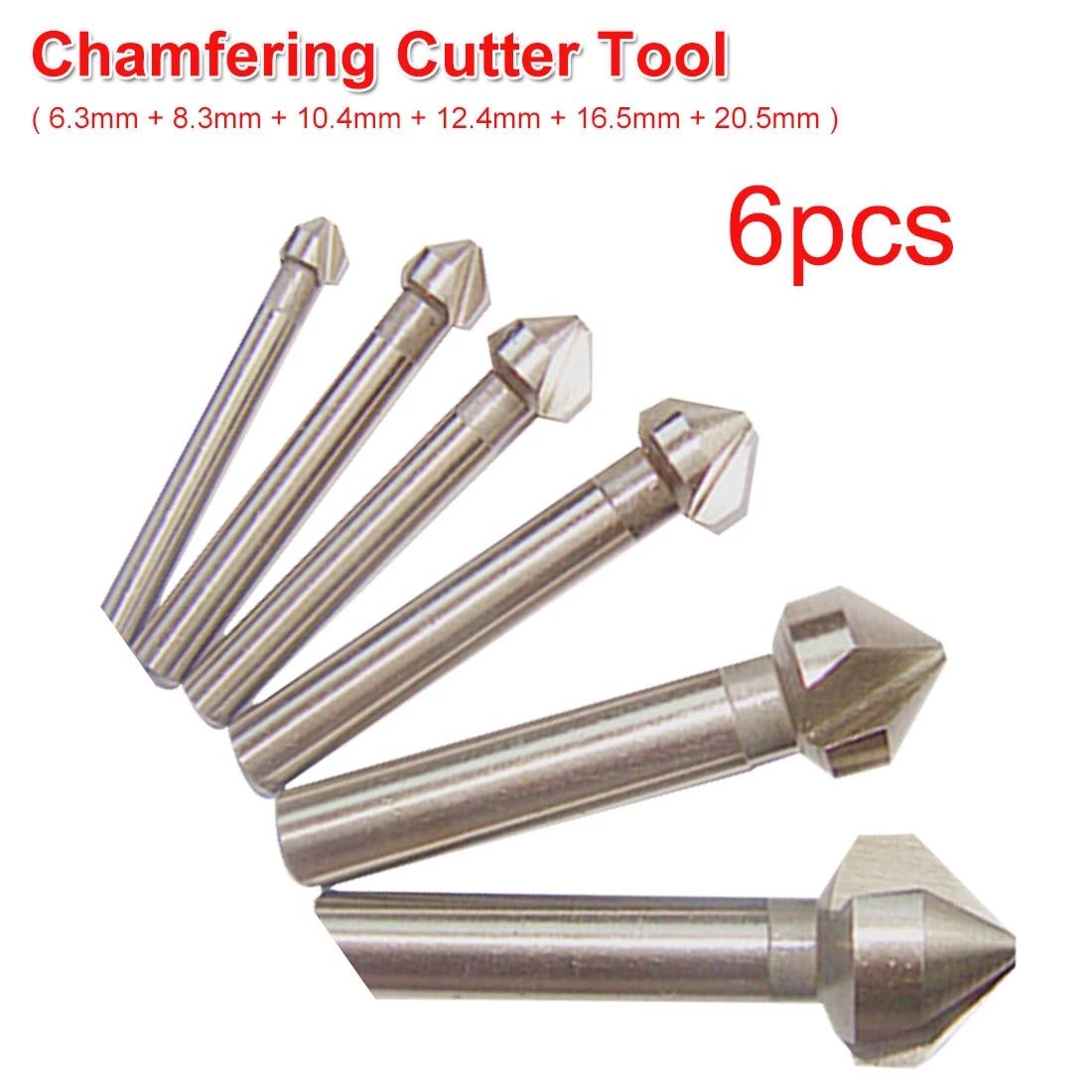 3 Flute 90° HSS Chamfering End Mill Cutter Bit Countersink Drill Bit 6pcs