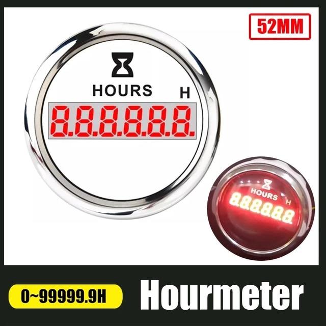 52mm Digital Hour Meter Universal Hourmeter Gauge Fit for Car Boat Engine Yacht Motorcycle Marine Red Backlight 9 30V