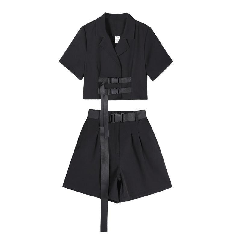 two-piece suit Tops Shorts Slim suit Solid Color women Korean summer fashion 2020 new wide leg pants Shorts Short Blazer jacket