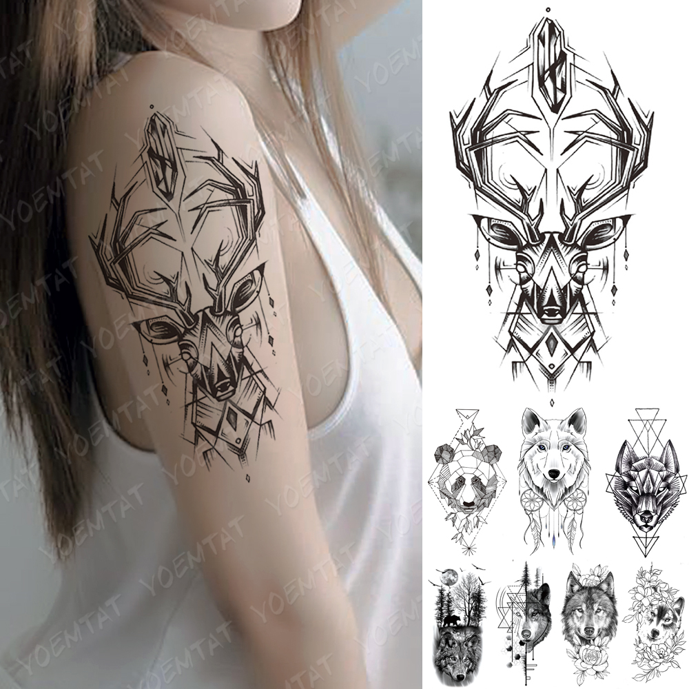 Waterproof Temporary Tattoo Sticker Line Geometry Fox Panda Wolf Tattoos Deer Flowers Body Art Arm Fake Sleeve Tatoo Women Men