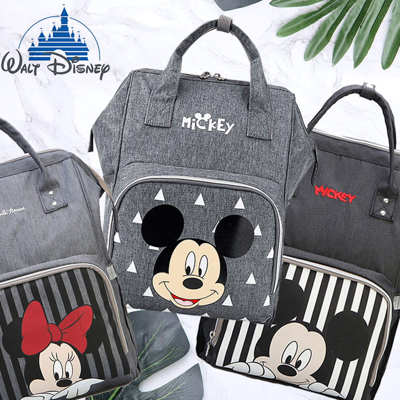 Disney Travel Diaper Bag Bolsa Maternidade Waterproof Stroller Bag USB Baby Bottle Warmer Mummy Backpack Nappy Bag Mickey Mouse