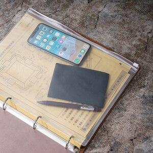 Image 4 - Yeni gelenler klasik iş not defteri A4 hakiki deri kılıf gevşek yaprak defter günlüğü seyahat dergisi Sketchbook planlayıcısı