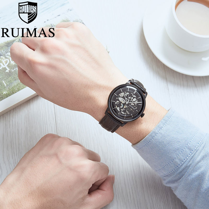 Stainless Steel Automatic Mechanical Mens Skeleton Watches Luminous Hands Leather Business Wrist Watches Relogio Masculino