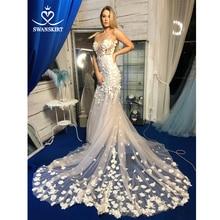 SWANSKIRT Fairy Appliquesชุดแต่งงานV Neck 3Dดอกไม้Backless Mermaidภาพลวงตาเจ้าหญิงVestido De Novia SA12 ชุดเจ้าสาว