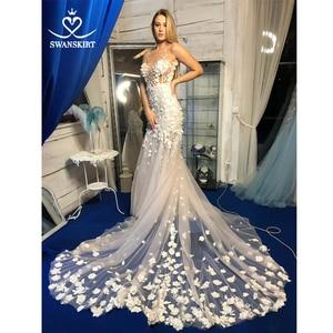 Image 1 - Swanjupe fée Appliques robe de mariée col en v 3D fleurs dos nu sirène Illusion princesse Vestido de novia SA12 robe de mariée