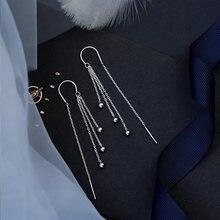 Оптовая продажа серебряные серьги капельки с длинной кисточкой