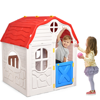 كوخ للأطفال كوخ مسرح قابل للطي منزل اللعب البلاستيكية في الأماكن المغلقة لعبة للهواء الطلق المحمولة