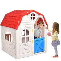 Costway Kids Cottage Playhouse Opvouwbare Plastic Speelhuis Indoor Outdoor Speelgoed Draagbare