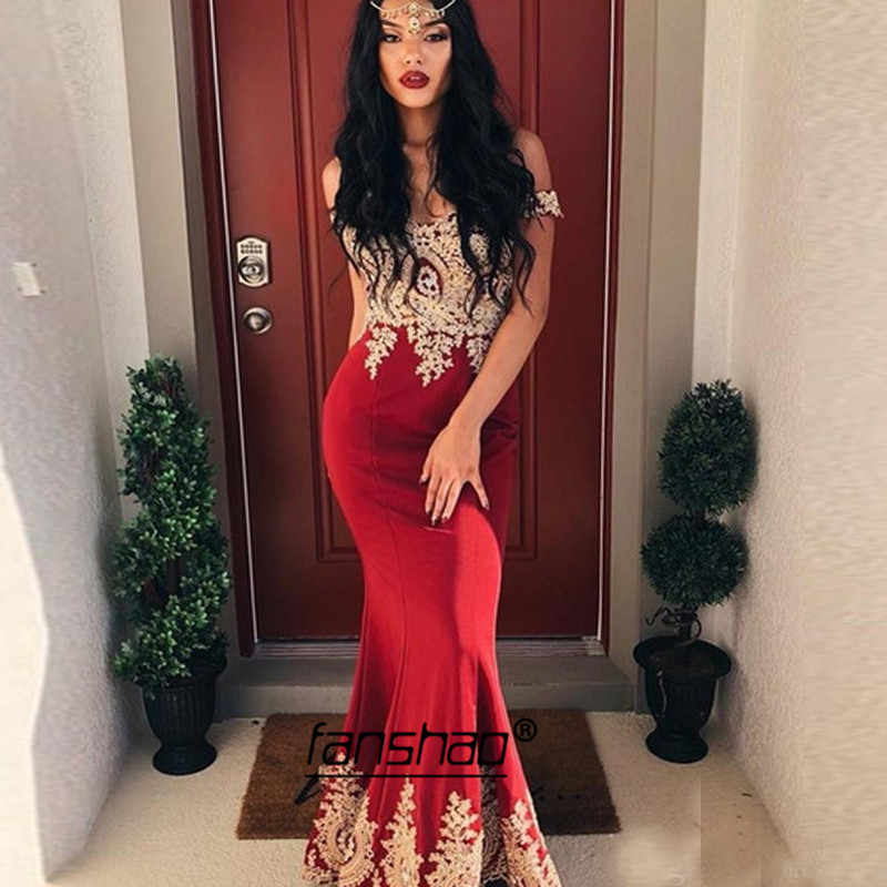 Vintage akşam elbise altın dantel Mermaid artı kapalı omuz bordo Dubai suudi arabistan gece elbisesi Boho balo elbise
