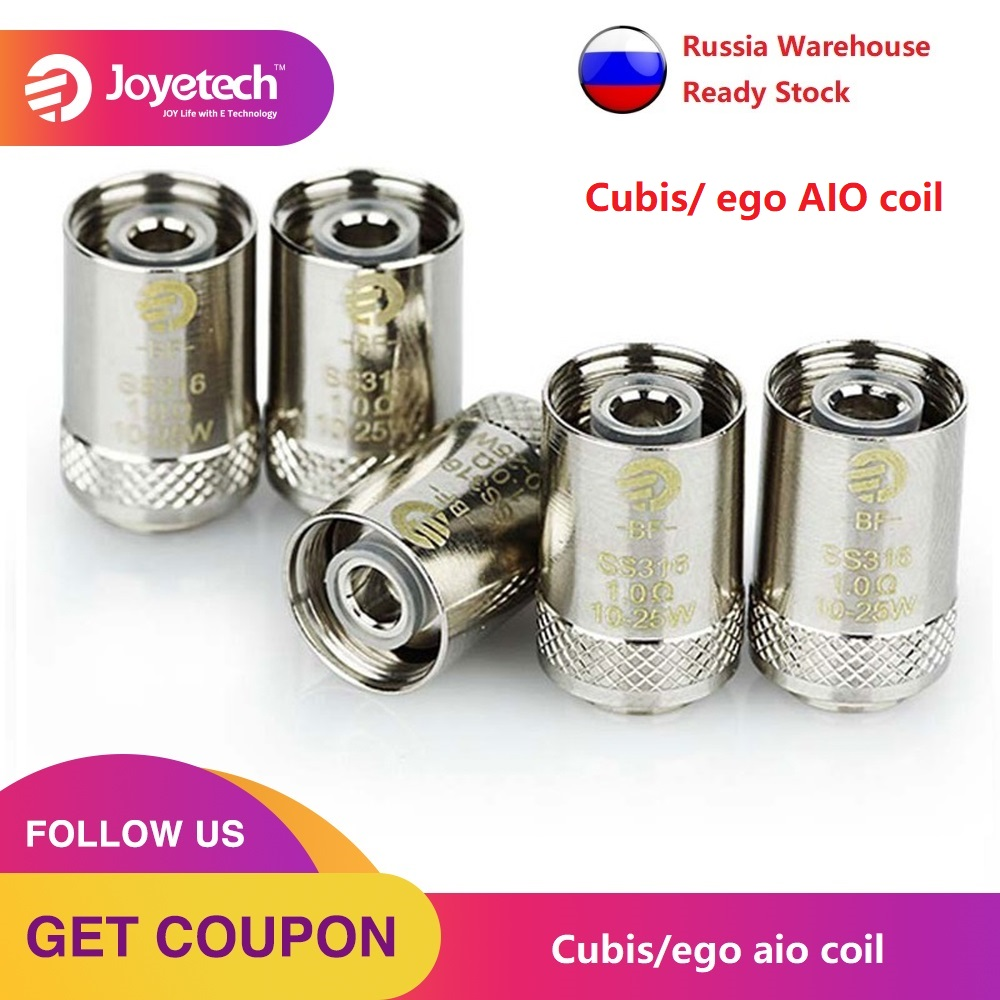 5pcs Original Joyetech BF SS316 Head 0.6ohm/1.0ohm Evaporizer Coil For CUBIS/ EGO AIO/ Cuboid Mini Electronic Cigarette