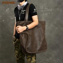 PNDME large capacity vintage genuine leather mens tote bag casual simple cowhide oversized shopping shoulder bag luxury handbag