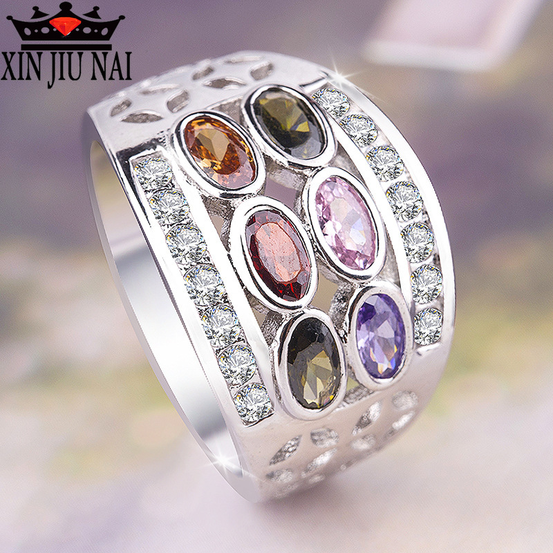 6 Colour Rainbow Elliptical Austrian Crystal Ring Bohemia 925 Silver ring CZ olive emerald zircon Travel Jewelry exquisite ring(China)