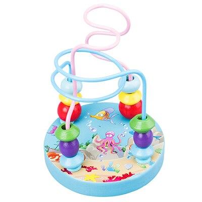 Деревянные игрушки Монтессори, деревянные круги, бусина, проволока, лабиринт, американские горки, Обучающие деревянные пазлы для мальчиков и девочек, детские игрушки 6+ месяцев - Цвет: ocean