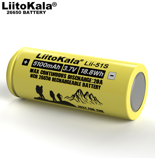 1-10PCS Liitokala LII-51S 26650 20A Power Rechargeable Lithium Battery 26650A , 3.7V 5100mA .  Suitable for Flashlight 5