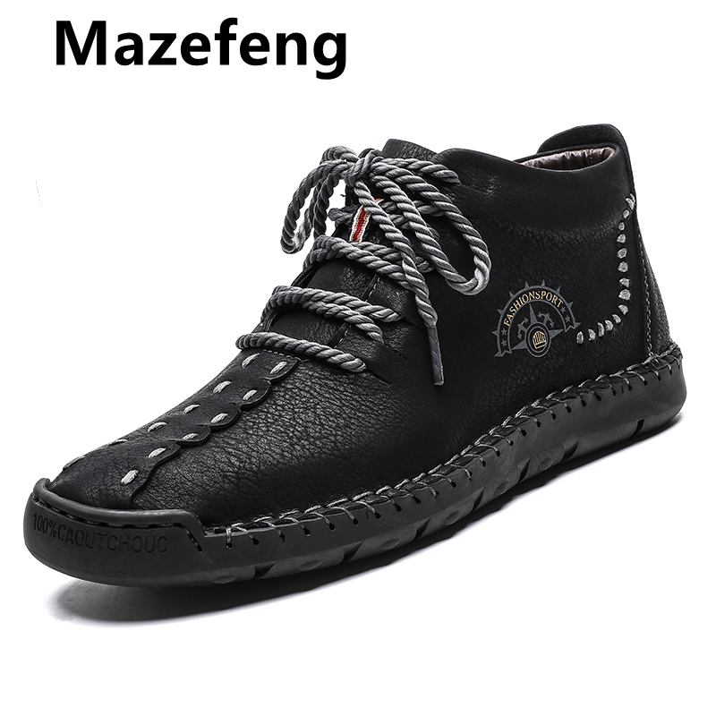 Hot Sale Winter Men Boots Genuine Leather Fur Snow Boots Lace Up Waterproof  Footwear Male Casual Men Shoes Fashion New Big Size