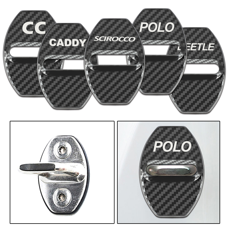 4 Pcs/Set Car Carbon Fiber Pattern Door Lock Cover Cap For Volkswagen POLO SCIROCCO BEETLE CC GTD EOS UP Car Styling Accessories