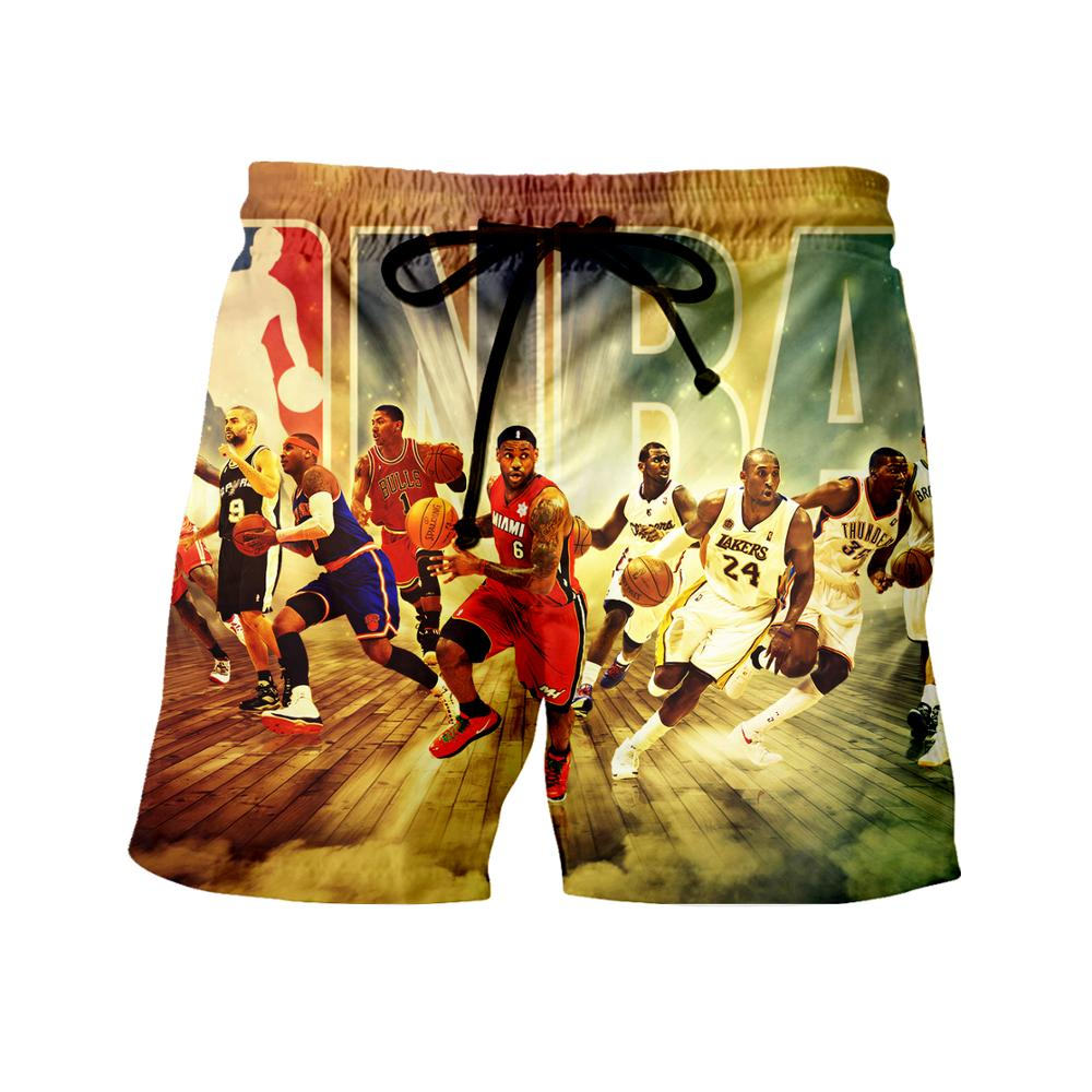 WSFK brand new products shorts beach pants nba basketball star sports pants 3D print shorts