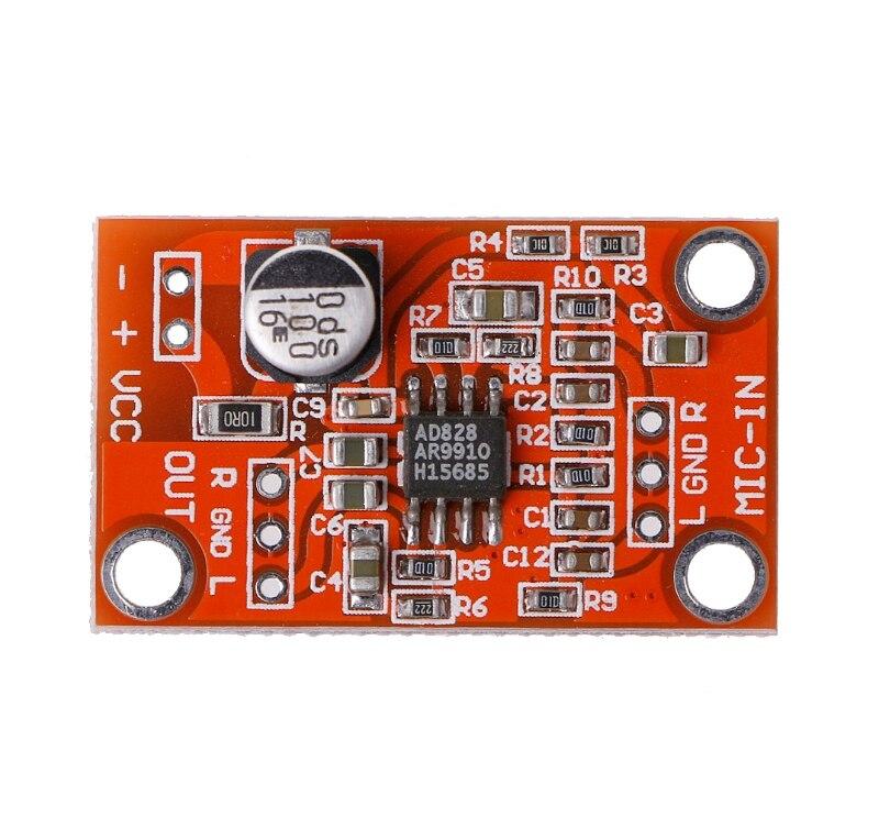 AD828 стерео Динамический микрофон предусилитель доска предусилитель микрофона Модуль постоянного тока 3,8 V-15V S927