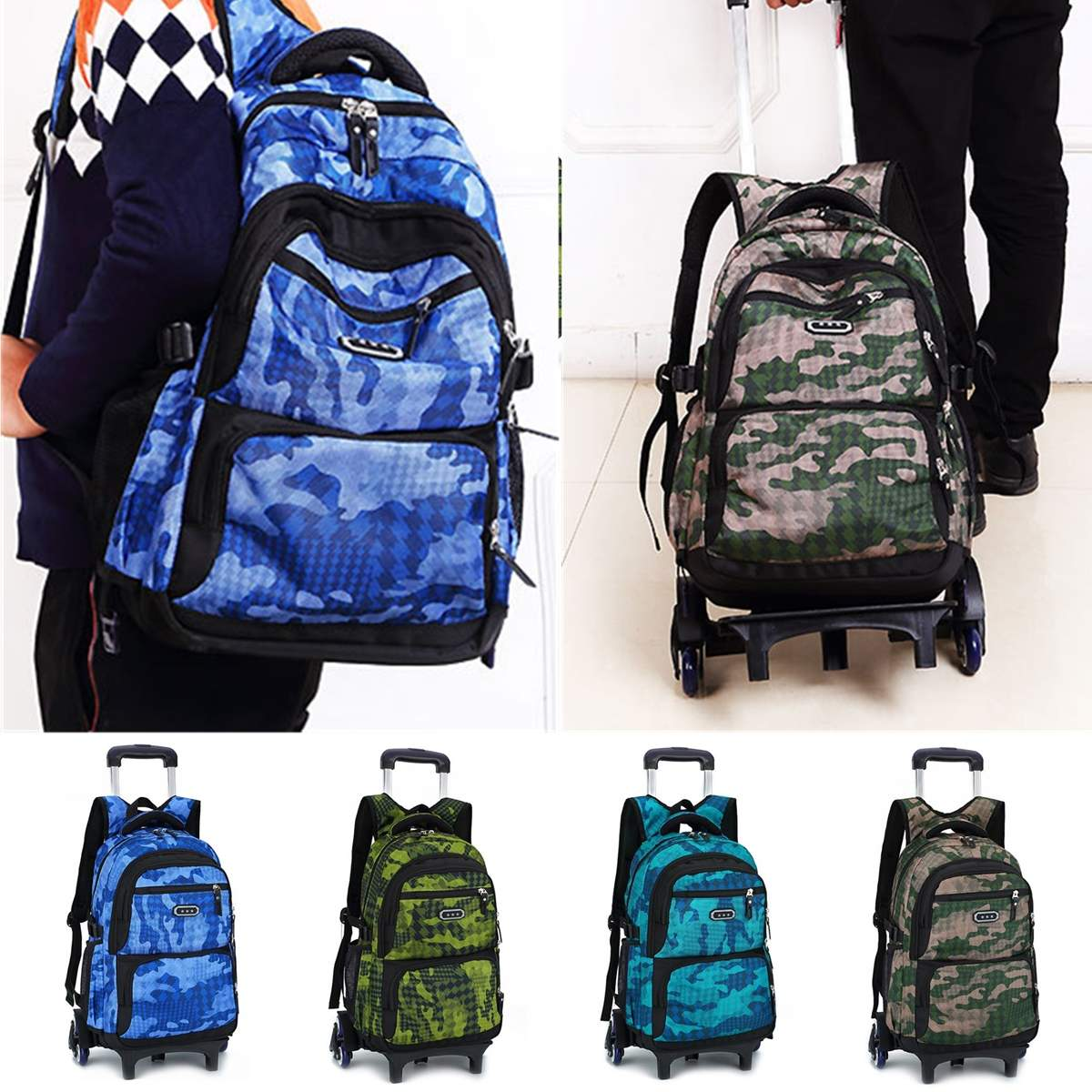29L Men Nylon Travel Trolley Luggage Bags Travel Trolley Rolling Bags Women Wheeled Backpacks Business Luggage Suitcase On Wheel
