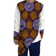 Mens Ankara Shirts Fashion Men African Shirt Dashiki Custom Made Patchwork Tops Wax/White Festive Casual Kente