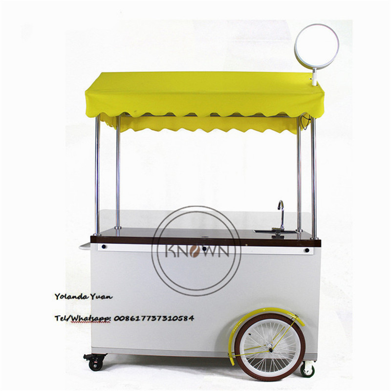 Factory Price Chinese Supplier Ce Bakfiets Dutch Coffee cycle Cargo Bike Truck Mobile Push Street Cart with 4 Wheels