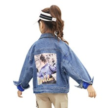 2019 New Cartoon Denim Jacket for Girls Fashion Children Clothing Autumn Baby Girls Clothes Outerwear Kids Jean Jackets Coat e ting handmade fashion doll clothes winter clothing rose coat jacket skinny star print jean girls suit for barbie accessories