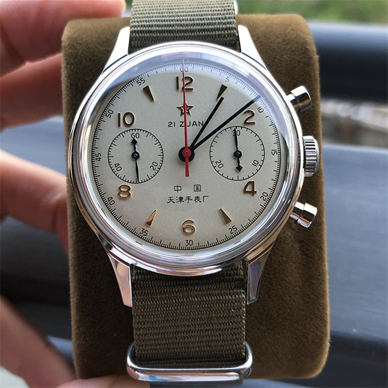 Image 3 - Genuine Seagull 1963 Pilot Watch Chronograph Mens Acrylic Dial Clock Mechanical sea gull St1901 Men Wrist watches Official D304-in Mechanical Watches from Watches