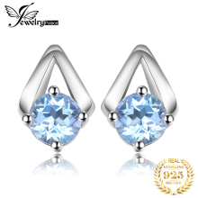JewelryPalace Genuine Blue Topaz Stud Earrings 925 Sterling Silver Ear
