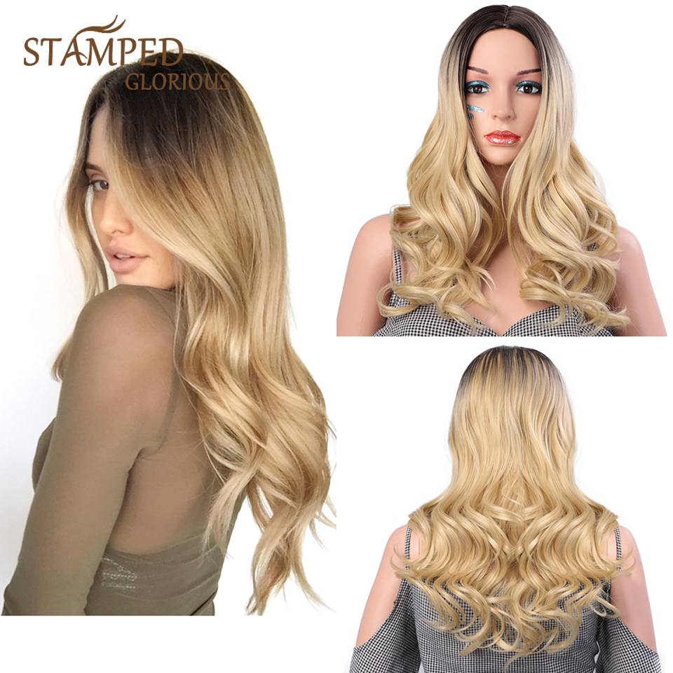 Stamped Glorious Natural Wave Wig Ombre Black Blonde Wavy Wig Synthetic Long Wig For Women Middle Part Heat Resistant Fiber Hair