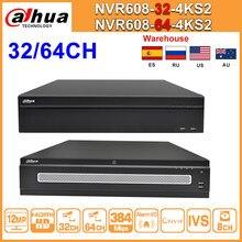 Dahua-Grabadora de vídeo IP de red, dispositivo NVR Original de 64 canales, NVR608-64-4KS2, 32 canales, NVR608-32-4KS2, H.265, Max, 384Mbps, Ultra 12MP, 4K