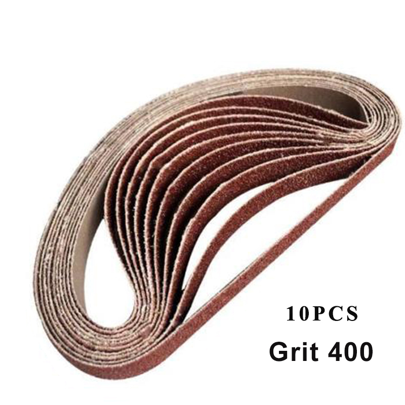 10pcs 15*452mm Sanding Belt 60-600-Grit For M10 Sander Adapter Polishing Machine 60 /120 / 240/ 400/ 600