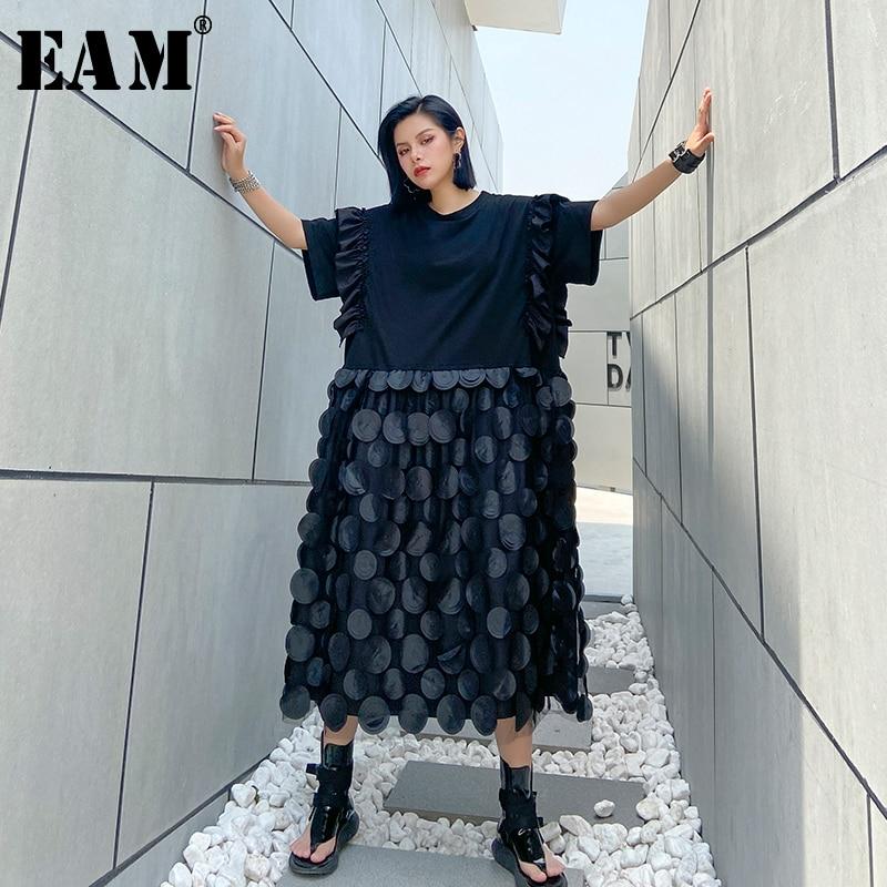 [EAM] Women Black Dot Patch Ruffles Big Size Dress New Round Neck Half Sleeve Loose Fit Fashion Tide Spring Summer 2020 1U085