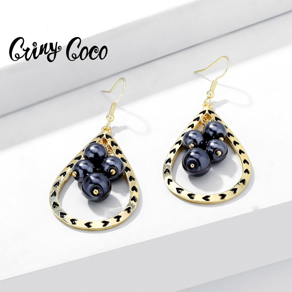 Cring Coco Fashion Water Drop Earrings Big Classic Alloy Pearl Jewelry Dangling Earring Accessories Gift for Women Party Wedding