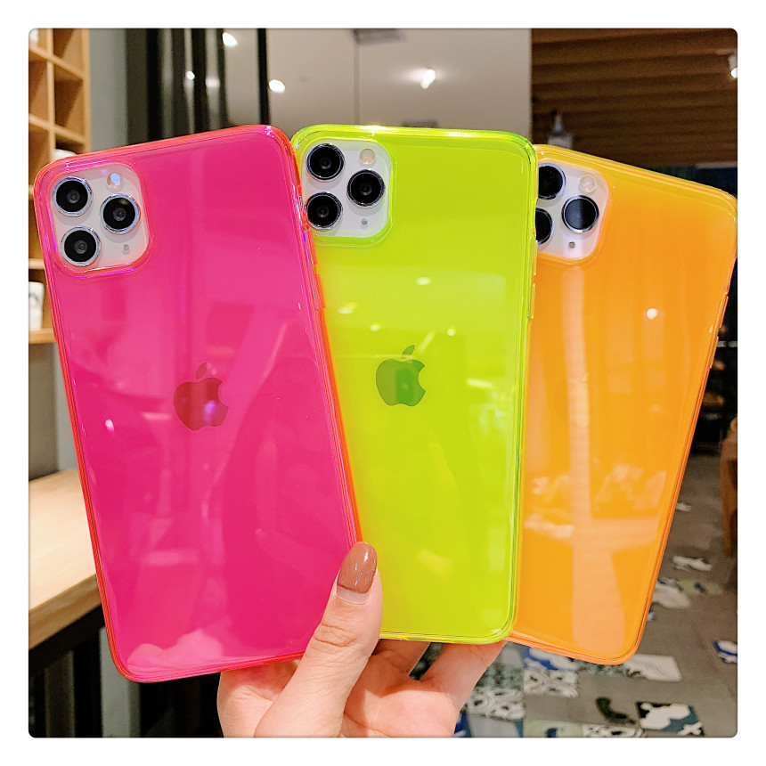 SUYACS Fluorescent Solid Color Transparent Phone Case For iPhone 11 Pro Max XR X XS Max 7 8 Plus Neon Case Soft IMD Back Cover(China)