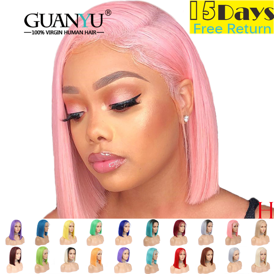 Pink Bob Lace Front Wigs Human Hair 13X4 Pre Plucked 613 Blonde Blue Red Grey Green Ombre Short Bob Wigs For Black Women Remy image